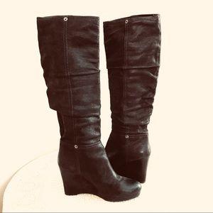 Prada Slouchy Wedge Leather Boots Sz 40